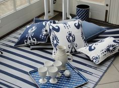 OKA blue and white cushions