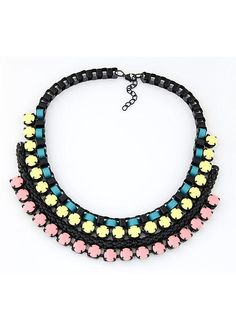 Wholesale Chunky necklace color stitch crystal decoration elegant chain SX-1022-021 - Lovely Fashion