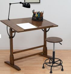 Adjustable Drafting Table Art Antique Writing Desk Vintage Wood Drawing