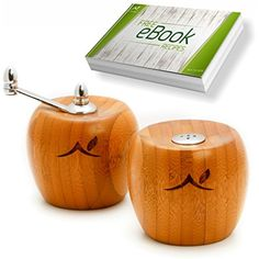 Salt and Pepper Shakers by Eco President - Bamboo Wood Pepper Mill and Salt Mill with Stainless Steel Handle - Salt and Pepper Grinder Set * Details can be found by clicking on the image. (This is an affiliate link) #KitchenUtensilsGadgets