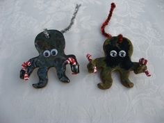Octopus tree ornament, complete with candy canes