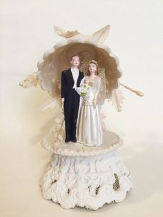 1950's Vintage Bell Wedding Cake Topper Chalk by PurpleDahlias