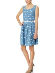 Yumi  Chambray Butterfly Print Dress Now      £25.00         Was      £48.00 #BestRevews #love #Sale