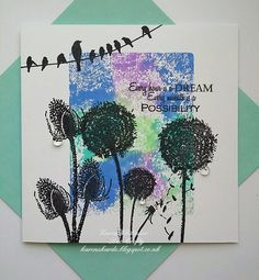 Tall Teasel, Tall Dandelion, Dandelion set and Birds On A Wire stamps by Bee Crafty. Distress Oxides, Stamping, Dandelion, Bee, Thankful, Birds, Crafty, Creative, Flowers