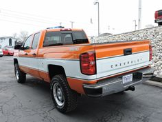 Chevy Silverado Cheyenne Super 10 in orange and white. New Chevy, Chevy 4x4, Lifted Chevy Trucks, Gm Trucks, Chevrolet Trucks, Chevrolet Silverado, Cool Trucks, Silverado Truck, 2018 Silverado