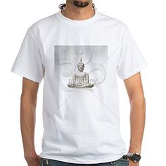CafePress  Isolated white Buddha incl clippin White TShirt  100 Cotton TShirt Crew Neck Comfortable and Soft Classic White Tee with Unique Design *** Continue to the product at the image link.