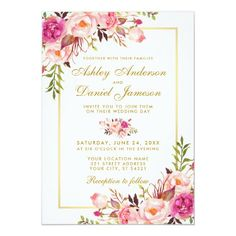 Watercolor Floral Pink Blush Gold Wedding Invitation Spring Wedding Invitations, Beautiful Wedding Invitations, Watercolor Wedding Invitations, Bridal Shower Invitations, Flower Invitation, Invitation Background, Wedding Invitation Templates, Party Invitations, Blush And Gold