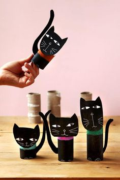 Wickedly Fun Black Cat Halloween Decorations Wickedly Fun Black Cat Halloween Decorations Looking For Some Fun Halloween Crafts To Make With The Kids These Diy Black Cat Decorations Are Made From Recycled Toilet Paper Rolls Paper Roll Crafts, Halloween Crafts For Kids, Paper Crafts For Kids, Cat Crafts, Diy Halloween Decorations, Crafts To Make, Craft Decorations, Chat Halloween, Halloween Black Cat