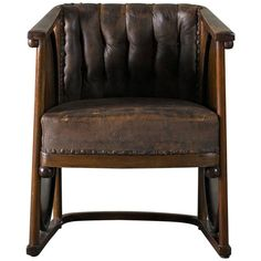 Kolomon Moser or Josef Hoffman Armchair Beechwood, Marquetry and Leather, 1907 For Sale Leather Furniture, Vintage Furniture, Cool Furniture, Furniture Design, Modern Armchair, Modern Chairs, Circle Chair, Leather Club Chairs, Table And Chairs
