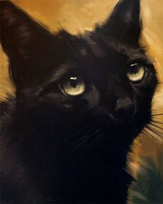 PaintingsFromTheParlor.Blogspot.com - Black Cat Painting