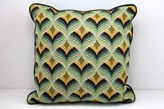 Vintage Bargello Needlepoint Pillow / Retro / Green Yellow Gold on Etsy, $32.00