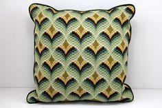 Vintage Bargello Needlepoint Pillow / Retro / Green Yellow Gold on Etsy, $32.00