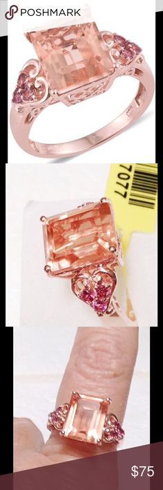 Peach Quartz, Pink Tourmaline Peach Quartz, Pink Tourmaline Gorgeous peachy color that mimics the finest of Morganite, accented with rare Pink Tourmaline, done 14K RG Plated .925 Sterling Silver Ring. TGW 7.300 CTs. Sizes 8&6 available. Jewelry Rings