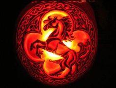 Horse carved pumpkin