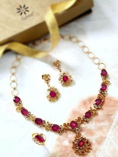 Rose-cut diamonds n rubies necklace set – Classic Indian necklace, earring and ring set, with carefully matched unshaped rubies and brown ro...