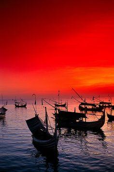 Red sunset sky - Jimbaran Bay, Bali, Indonesia