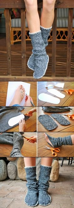 DIY Sweater Slipper Boots  I'm thinking maybe this should be done with some heavy kind of cloth on the bottom, instead of paper, but I like the idea all the same. --Mandy