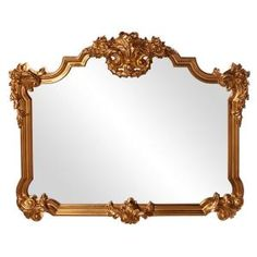 Howard Elliott Avondale Bright Gold Mirror Wall Decal 56006 - The Home Depot Gold Ornate Mirror, Traditional Frames, Mirror Shapes, Gold Walls, Gold Wood, Beveled Glass, Gold Leaf, Ebay, Bright