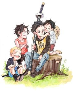 childhood very cute!  #one piece #trafalgar law #sabo #portgas d ace #monkey d luffy