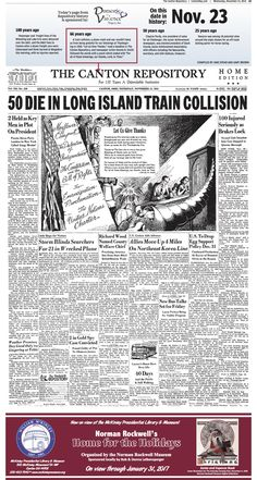 A fatal train crash marred a Thanksgiving edition of The Repository on November 23, 1950.