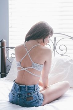 Sophie Strappy Lace Bralette in Silver - Back Details