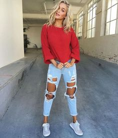 Such a California look - loose fitting sweater, ripped light wash jeans, and sneakers - spring 2017 style Clothing, Shoes & Jewelry : Women : Shoes : Fashion Sneakers : shoes  http://amzn.to/2kB4kZa