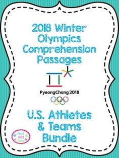 2018 Winter Olympics Comprehension Passages, U. Reading Comprehension Skills, 2018 Winter Olympics, Thematic Units, Olympians, Texts, Teaching, Writing, Education, Cute