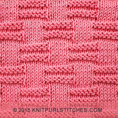 The Block stitch pattern using only knit and purl techniques   knitpurlstitches.com