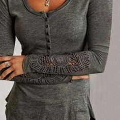 Classic Plain Embroidered Long Sleeve Top