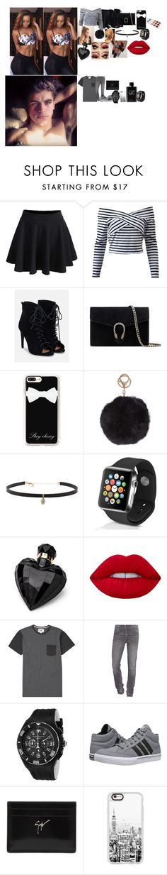 """leigh,Jack"" by divas-and-champs-anons ❤ liked on Polyvore featuring WithChic, JustFab, Gucci, Casetify, Humble Chic, Carbon & Hyde, Apple, Lipsy, Lime Crime and Billabong"