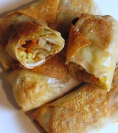 Baked Vegetable Egg Rolls- I also put chicken in mine. Make sure u generously spray them w Pam.  Soooo good. My sauce is apricot preserves mixed w yellow mustard.