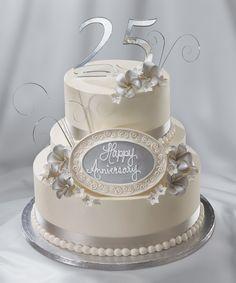 25th Wedding Anniversary cake, silver anniversary
