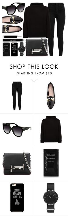 """""""All Black"""" by smartbuyglasses-uk ❤ liked on Polyvore featuring Levi's, Kate Spade, Alexander McQueen, Jaeger, Tod's, Cleanse by Lauren Napier, Daniel Wellington and black"""