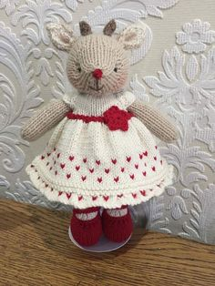 Hand Knitted Bear Reindeer Christmas