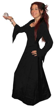 f5872d9d8dbd6 FLOATY LONG black MEDIEVAL hood HOODED pointy DRESS skirt S   PLUS SIZE goth  emo