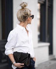 "8,680 curtidas, 95 comentários - I'm such a Carrie Bradshaw (@marinathemoss) no Instagram: ""wearing his shirt http://liketk.it/2qqED @liketoknow.it #liketkit #messybun #whiteshirt #ysl…"""