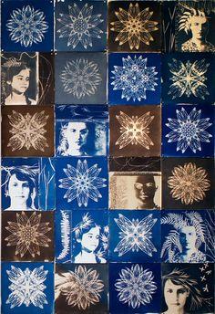 "'night rhythms"", paper quilt, cyanotype on Rives BFK - twenty four 13"" x 13"" squares. 2013"