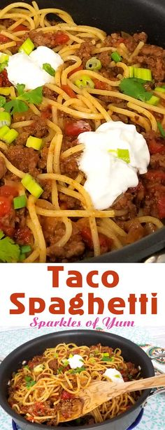 Taco Spaghetti Recipe - Quick easy and full of flavor, that's what I like for a busy weeknight dinner, and this Taco Spaghetti recipe comes together in under 30 minutes. the perfect no fuss, quick clean up dinner. #dinnerideas #spaghettinight #easydinner via @sparklesofyum