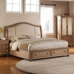 Riverside Furniture Coventry Upholstered Storage Sleigh Bed in Driftwood - Queen Mirrored Bedroom Furniture, Bed Furniture, Wolf Furniture, Furniture Depot, Modern Furniture, Queen Bedroom, Bedroom Sets, Master Bedroom, Master Suite