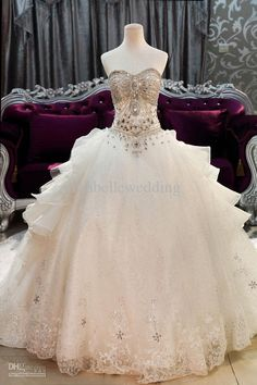 New Luxurious Sweetheart Crystals Sequin Lace Edge Trail Bandage Ball Gown Wedding Dresses Corset Back Bridal Dress White Ball Gown Ball Gowns Cheap From Mirabellewedding, $250.26| Dhgate.Com