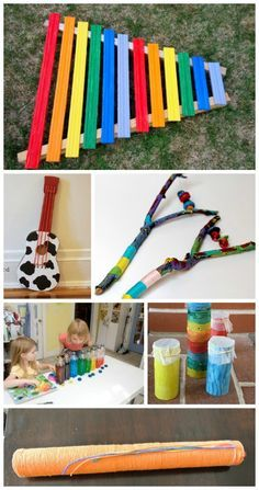 {Homemade Instruments using Recycled Materials}  Some amazing make-your-own instrument ideas for kids using items from around the house!  Great Earth Day activity!