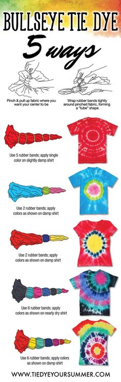 It's so easy to get the bullseye tie dye design. Create your very own custom shirt using Tulip One-Step tie dye and make this awesome pattern technique on a basic tee!