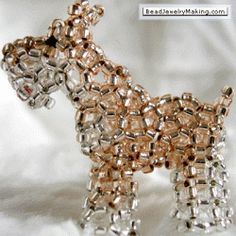 3D Beaded Schnauzer PATTERN Beaded Crafts, Beaded Ornaments, Jewelry Crafts, Beading Projects, Beading Tutorials, Free Tutorials, Beading Patterns Free, Jewelry Patterns, Beaded Animals