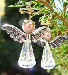 Christmas Angel Earrings  Cute Christmas Earrings by WeirdlyCute, $15.00