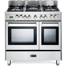 Verona Pro-Style Dual-Fuel Range with 5 Sealed Burners, 2 European Convection Ovens, Multi Function Programmable Ovens and Storage Drawer: Stainless Steel -- Check this awesome product by going to the link at the image. Verona Range, Double Oven Range, Double Ovens, 36 Range, 36 Inch Gas Range, Gas Oven, Range Cooker, Fireplace Accessories, Kitchen Accessories