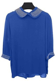 Blue Lapel Half Sleeve Sequined Chiffon Blouse