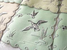 WILD DUCKS in FLIGHT, CATTAILS Vtg Madeira Embroidery 8 Linen Cocktail Napkins