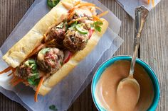 Banh Mi Meatball Sandwich - Make delicious beef recipes easy, for any occasion French Baguette, Sriracha Sauce, Fish Sauce, Meatball, Cheesesteak, Food Styling, Beef Recipes, Sandwiches, Easy Meals