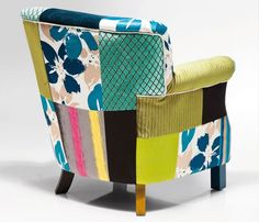 ARMCHAIR PATCHWORK STRIPES | Kreslo v kombinácii rôznych materiálov a látok Cosy Sofa, Patchwork Chair, Patterned Chair, Kare Design, Sit Back And Relax, Home Living Room, Solid Wood, Upholstery, Armchair