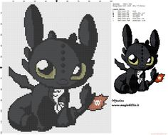 Chibi Toothless cross stitch pattern (Dragon Trainer)